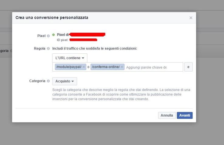 conversione di acquisto facebook prestashop